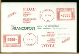 ITALIA -  FIGC - BARI - Comitato Regionale Puglia - Etichette Adesive - FRANCOPOST  Prove Di Collaudo - Cartas