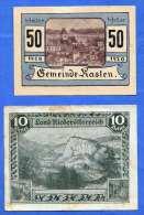 2 Gutscheine (10 Heller Land Niederösterreich + 50 Heller Gemeinde Kasten) - Oesterreich