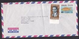Jordan: Airmail Cover To UK, 2 Stamps, Red Sea Fish, King, Sea Life, Animal (minor Fold, Roughly Opened) - Jordanië
