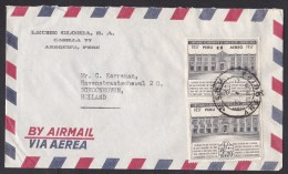 Peru: Airmail Cover To Netherlands, 2 Stamps, Historical Building (traces Of Use) - Peru