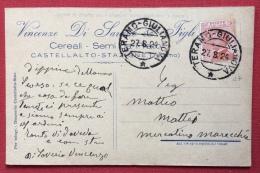 AMBULANTE  TERAMO - GIULIANOVA  CARTOLINA PUBBLICITARIA VINCENZO DI SAVERIO CEREALI E SEMI IN CASTELLALTO STAZIONE -1924 - 1900-44 Vittorio Emanuele III