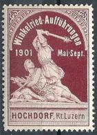 """Vignette  """"Winkelried Aufführungen Hochdorf""""            1901 - Svizzera"""