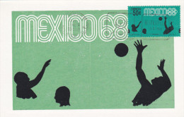 MEXICO, PU-1968; Siluetas, Water Polo, Cuarta Serie Postal Preolimpica 1968