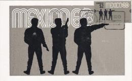 MEXICO, PU-1968; Siluetas, Tiro, Cuarta Serie Postal Preolimpica 1968