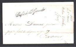 Gironde - Marque  Préfet De La Gironde  Sur Lettre En Franchise   De 1850 - Marcophilie (Lettres)