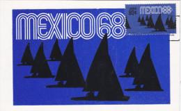 MEXICO, PU-1968; Siluetas, Yatismo, Cuarta Serie Postal Preolimpica 1968