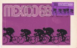 MEXICO, PU-1968; Siluetas, Ciclismo, Tercera Serie Postal Preolimpica 1967