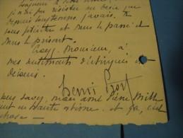 LETTRE AUTOGRAPHE SIGNEE DE HNERI PROST 1923 ARCHITECTE PARIS PRIX DE ROME ACADEMIE PROFESSEUR à HENRI BERAUD - Autógrafos