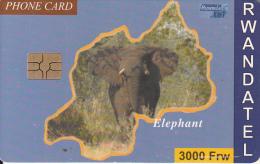 RWANDA - Elephant, First Chip Issue 3000 Frw, Used