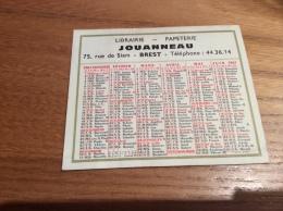 """Calendrier 1967 """"LIBRAIRIE JOUANNEAU BREST (29)"""" (7,7x9,2cm) - Petit Format : 1961-70"""