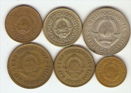 6 Monnaies Yougoslavie: 5,10,20,50 Para Et 1, 2 Dinara - Yougoslavie