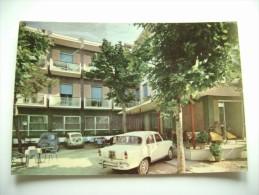 RIMINI  HOTEL  CENTRALE   TIMBRO RISTORANTE TRE CORONE  FERRARA   CAR  AUTO    VIAGGIATA   COME DA FOTO - Alberghi & Ristoranti
