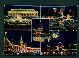 DENMARK  -  Copenhagen  Tivoli At Night  Multi View  Unused Postcard - Danemark