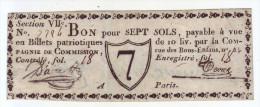 - PARIS. Bon Pour Sept Sols. Parchemin - - Assignats & Mandats Territoriaux