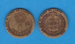 "PORTUGAL  1 ESCUDO 1.992 KM#631 REPLICA  Colección ""LO QUE EL EURO SE LLEVO"" SC/UNC  Réplica  T-DL-11.566 - Portogallo"