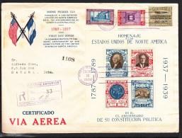 Guatemala 1939,3V + Block On FDC,150 Th Ann. Constitution United States North America,registered Letter To Cuba(L2079) - Guatemala