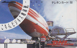 Télécarte Ancienne Japon / 110-23555 - DHL  AVION TRANSPORT WORLDWIDE EXPRESS  Germany Rel. Japan Front Bar Phonecard 14 - Avions