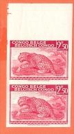 BELGIAN CONGO 1942. Leopard 2F50  Mnh**: 2 Stamps [spécimen,Muster,muestra, ] Non Dentelé - Congo Belge
