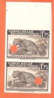 BELGIAN CONGO 1942. Leopard 1,75 Non Dentelé Punched Mnh**: 2 Stamps [spécimen,Muster,muestra, ] - Congo Belge
