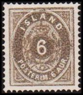1876. Aur-Issue. 6 Aur Grey. Perf. 14x13½ (Michel: 7A) - JF192416 - Oblitérés