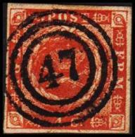 1854. Dotted Spandrels. 4 Skilling Brown. LUX 47 NYKJØBING FALSTER.  (Michel: 4) - JF192447 - 1851-63 (Frederik VII)