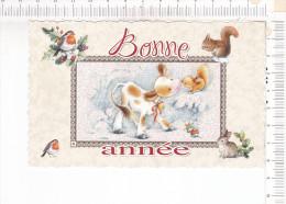 MIGNONNETTE   De   VOEUX   -      Animaux   -   Veau -  Ecureuil -  Rouge Gorge  - Lapin - Nouvel An