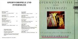 Silvio Varviso. OPERNVORSPIELE UND INTERMEZZI. Staatskapelle Drezden 1983 - Opera