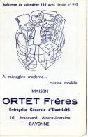 CALENDRIER 1966 ORTET Frères  Entreprise Générale D'Electricité  BAYONNE - Petit Format : 1961-70