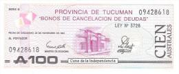 Argentina - Provincia De Tucuman - Pick S2715 - 100 Australes 1991 - Unc - Argentina