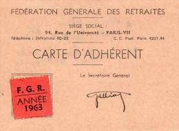 CARTE D'ADHERENT -FEDERATION GENERALE DES RETRAITES   1963   HAUT-RHIN - Cartes