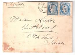Lettre De La Compagnie Générale Transatlantique Avec Yvert N° 60 X 2 > Vuitteboeuf, Vaud SUISSE , 1874 - Poststempel (Briefe)