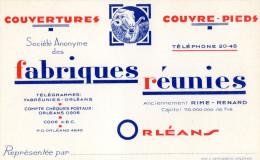 CARTE DE VISITE  FABRIQUES REUNIES  *Couvertures *Couvre-Pieds  ORLEANS - Cartoncini Da Visita
