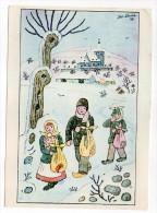 Joyeux Noel--illustrateur JOS LADA--Paysage De Neige Avec Enfants--carte Tchèque 145mm X 105mm  Avec Timbres - Natale