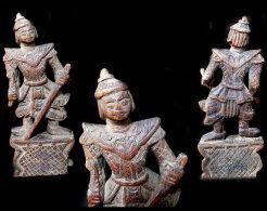 Ancienne Poulie En Rare Forme De Dieu Nat / Old Weaving Wheel Featuring A Nat God - Art Asiatique