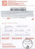 Superbe Obliteration Du Point Poste Librairie Paparazzi(La Louvière) Du 19/1/2015 Sur Récépissé De Recommandé - Marcophilie