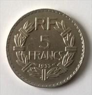 5 Francs LAVRILLIER  1933 - Nickel - TTB - - France