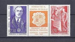 ANDORRE. YT 399A Hommage Au Général De Gaulle 1990 Neuf ** - French Andorra