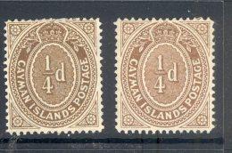 CAYMAN ISLANDS, 1908 ¼d Brown + 1908 ¼d Grey-brown Very Fine Mint Ligthly Hinged, Cat £12 - Kaaiman Eilanden