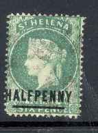 ST HELENA, 1884 ½d Emerald (surcharge 17mm) Very Fine Used, SG34, Cat £19 - Sint-Helena