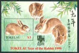 """1999 Tokelau """"Internationale Briefmarken Weltausstellung Nornberg""""Year Of The Hare Block MNH** Po90"""