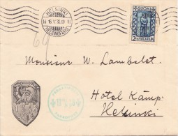 LETTRE FINLANDE COVER FINLANDE 1938. PARADPOST. HELSINKI - LYON FRANCE  /CLASSEUR FINLANDE 14 - Cartas