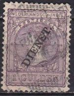 Ned. Indië: 1911 Koningin Wilhelmina Met Opdruk DIENST 1 Gulden Lijntanding 11 X 11½ NVPH D 26 A - Indes Néerlandaises