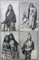 Lot De 4 CPA Afrique Occidentale Danseuses Arabes Type COUNTA Seins Nus Nude Collection FORTIER - Unclassified