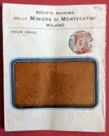 AMBULANTE  MILANO - GENOVA  44  SU BUSTA MINIERE DI MONTECATINI DEL 1917 CON MICHETTI 20 C. N.107/A - Marcophilia