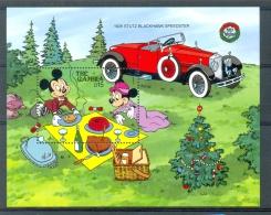 MzrD689 WALT DISNEY AUTO PICKNICK CAR Taart, Brood, 1928 Stutz Blackhawk Speedster GAMBIA 1990 PF/MNH - Disney