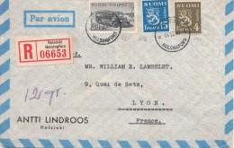 LETTRE FINLANDE COVER FINLAND 1949. RECOMMANDEE PAR AVION. HELSINKI - LYON FRANCE  /CLASSEUR FINLANDE 28 - Storia Postale