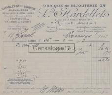75 001C PARIS SEINE 1913 Fabrique De Bijouterie Or L HARDELLET Succ GAULLIER Rue Haudriettes Usine VINCENNES Rue Temple - 1900 – 1949