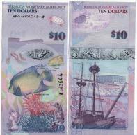 "Attractive BERMUDA  10 Dollars   P59a    Dated 1.1.2009    Serial  ""Onion""       UNC - Bermuda"