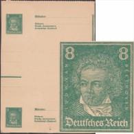 Allemagne 1927. Essai De Carte Postale, Entier D'usage Courant Dentelé. Deux-demi Cartes Se-tenant. Beethoven - Musique