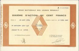 Dixième D'Action De 100 Frs Régie Nationale Des Usines Renault 1983 - Automobile